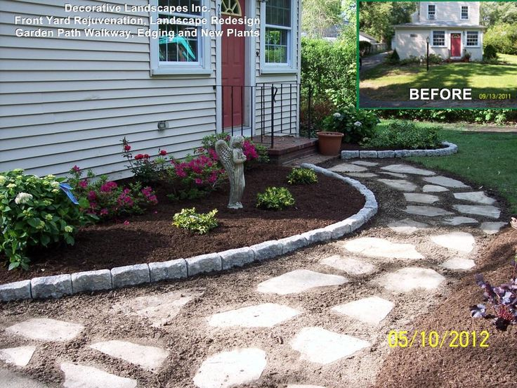 front yard landscape construction project with garden path stone walkway edging and plants