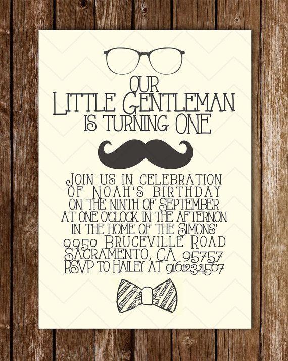 Little Gentleman birthday invitation on Etsy, $12.00