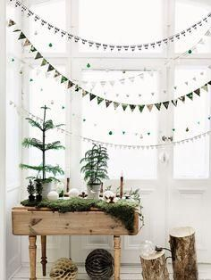 Loving this minimalist Scandinavian-inspired Christmas decor: DIY mini felt holiday bunting garlands, mini DIY potted Christmas trees on a carpet of moss, and sparkling white decorative snowballs. Such great Christmas decoration inspiration for those with small spaces and room to spare!