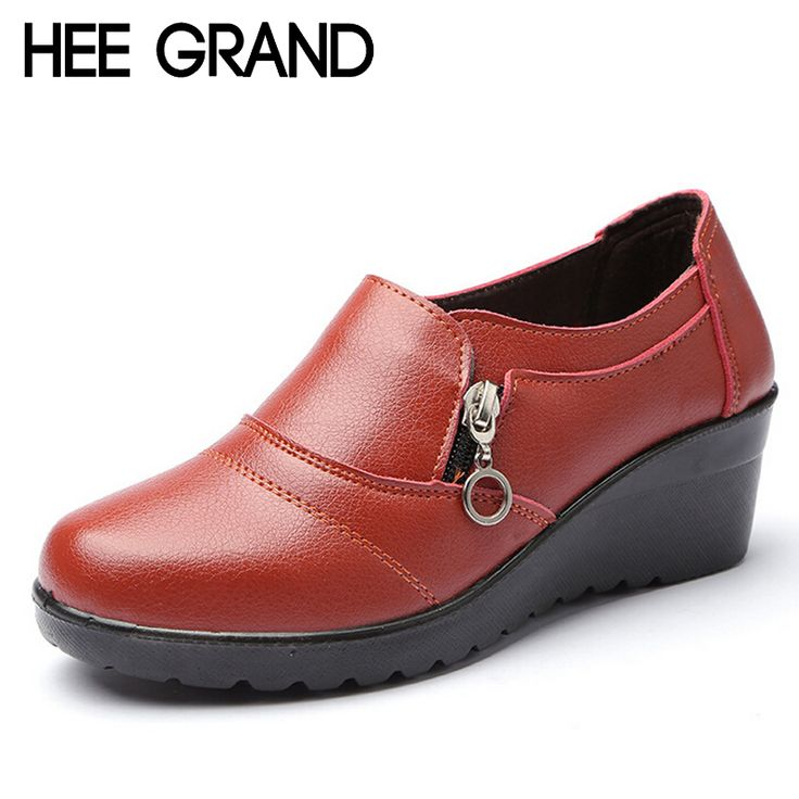 HEE GRAND Women Ankle Boots 2016 New Autumn Soft PU Leather Platform Shoes Woman Zip Low Wedges Shoes Size Plus 35-41 XWD4112