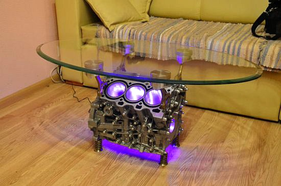 Engine Block Coffee Table-(love the light idea)