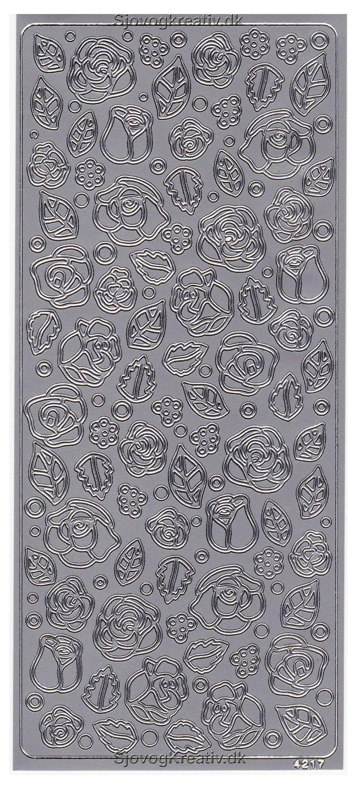 Sølv stickers med små blade og blomster til pynt på kort og indbydelser til festen fra sjovogkreativ.dk