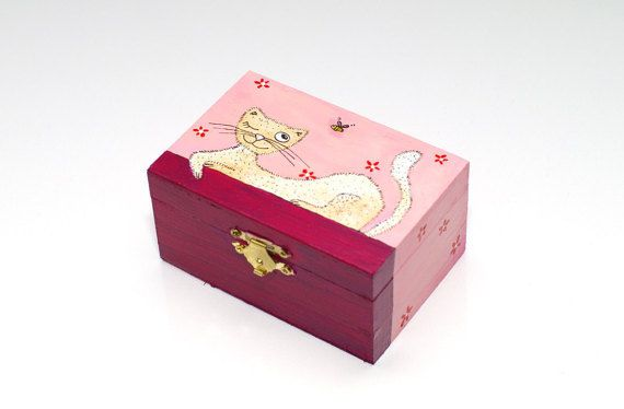 Girls jewelry box Girls Cat jewellery box - Kids jewelry Box for kids - Girls jewellery box - Jewelry storage - Wooden trinket box - Wood jewelry box