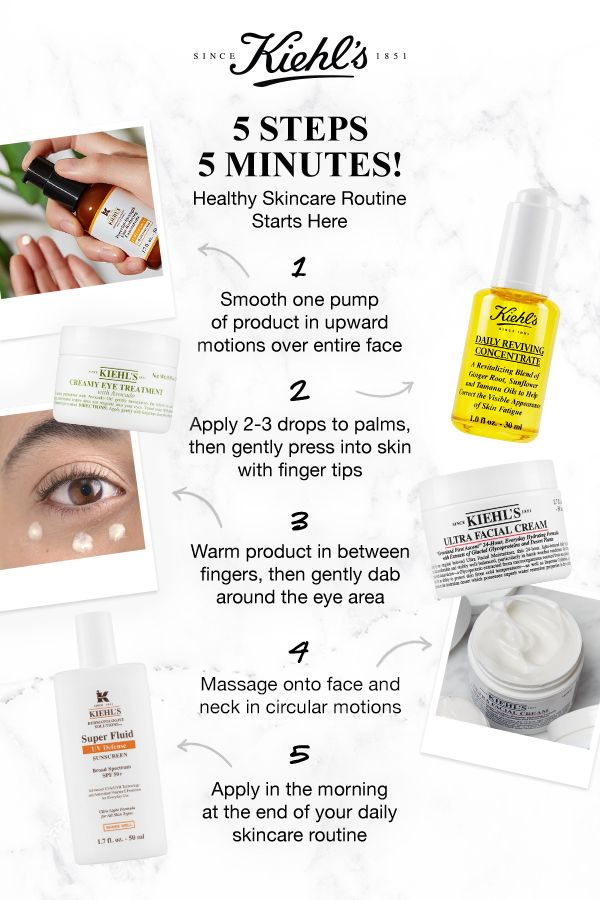 Discover Kiehl S 5 Step Morning Skincare Routine For Healthy Looking Skin In 5 Minutes Start Wi Healthy Skin Cream Morning Skin Care Routine Skin Care Routine