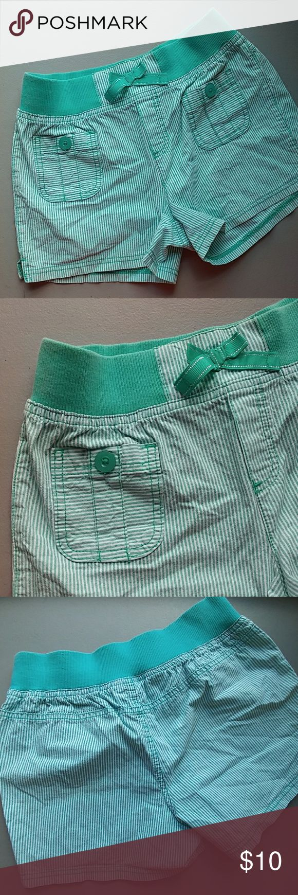 Girls XL(14-16) shorts Mint Green and white striped fun shorts from Basic Editions Bottoms Shorts
