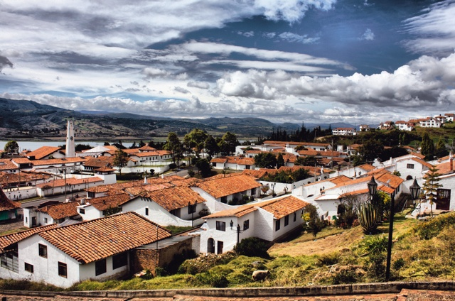 The little historic town on the lake, Guatavita, Colombia