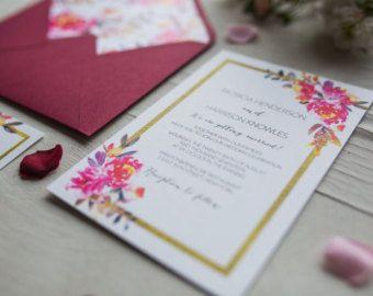 Marsala Gold Floral Wedding Invitation Suite, Wedding Paper Suite, Floral Corner Invite, Gold Invitations, Wedding Stationery, Invitations, -    Edit Listing  - Etsy