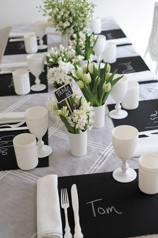 17 best ideas about white table settings on pinterest - Table blanche et noir ...