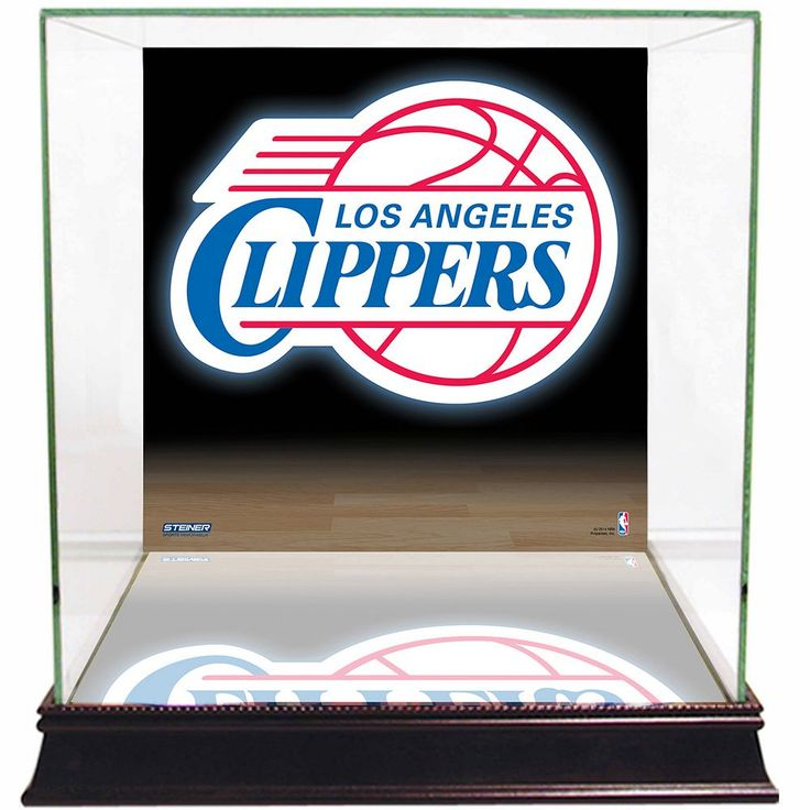 Steiner Sports Glass Basketball Display Case with Los Angeles Clippers Logo Background, Multicolor
