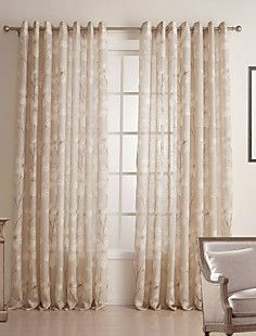 (Two Panels) Country Floral Linen/Cotton Blend Sheer Curtain... – EUR € 60.16