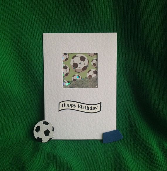 Soccer card - shaker style, filled with silver spangles and micro beads. Ideal birthday card for any football loving husband, son, boy!