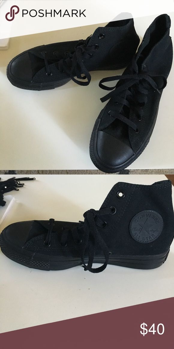 Black high top converse 7.5 women's 5.5 men's All black high top converse. New never worn. Too small for me. Price is pretty firm as these are never worn. Converse Shoes Sneakers