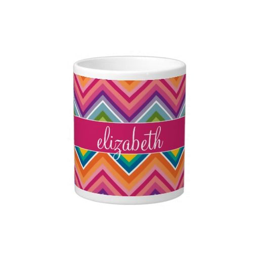 Huge Colorful Chevron Pattern with Name Jumbo Mugs - This beautiful mug a has bright, bold, colorful and vibrant chevron pattern wrapped around it with a block of pink with a white border, a monogram on which to place your name on. This mug says Elizabeth, but you can change the name to yours or to a friends to give as a Birthday or Christmas gift. You can even add a special message to this mug.
