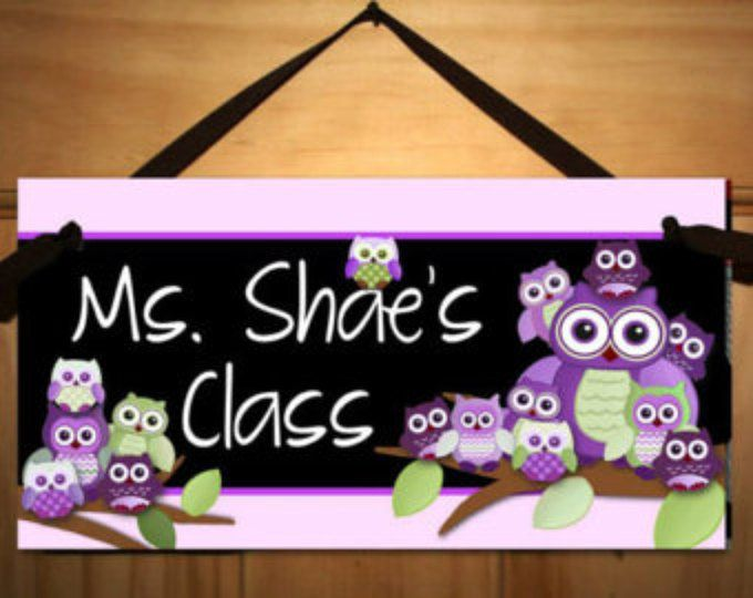 Hibou violet et vert classe enseignant classe porte signe présent cadeau TDS001