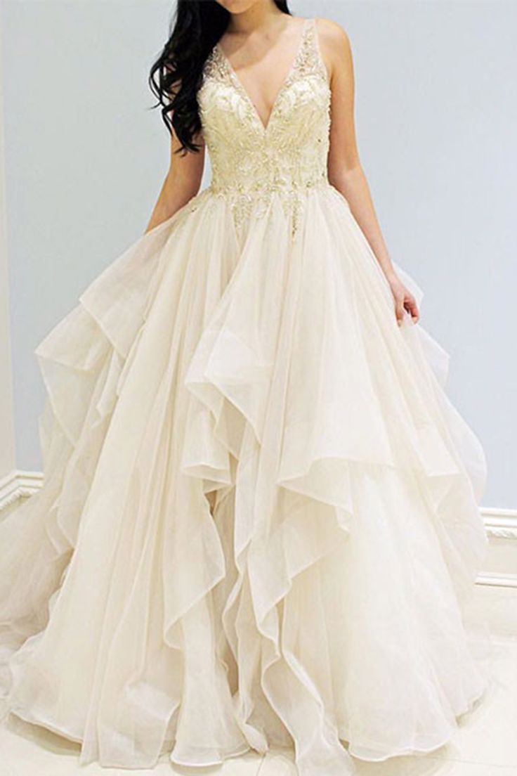Beautiful ivory organza prom dress, ball gowns wedding dress