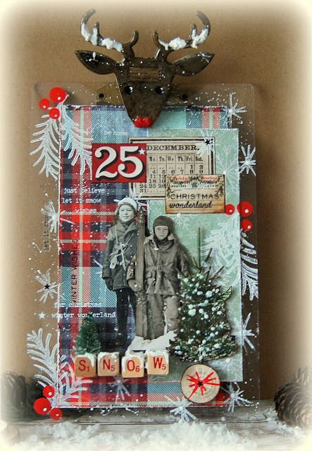Kath's Blog......diary of the everyday life of a crafter: Tim Holtz Holiday Inspiration Series...Oh Deer Clipboard...