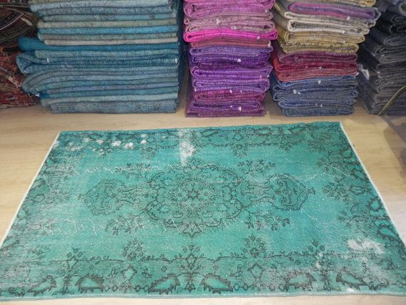 Overdyed  Vintage Turquoise Turkish Rug