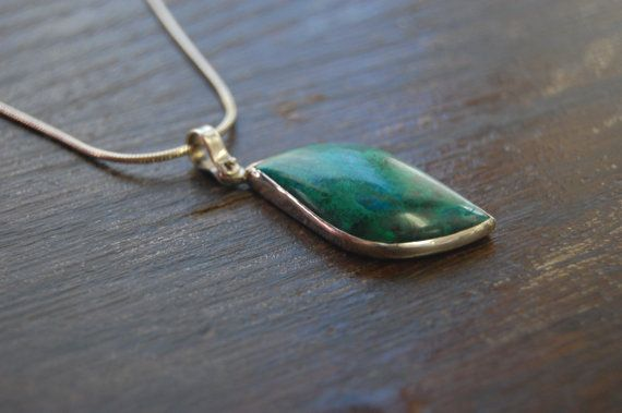 Sterling Silver 925 Chrysocolla Pendant and by JewelrybySaveria, $180.00