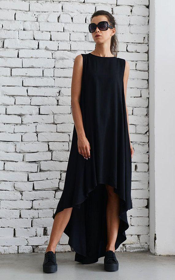 Negro asimétrico vestido exceso holgada por Metamorphoza en Etsy