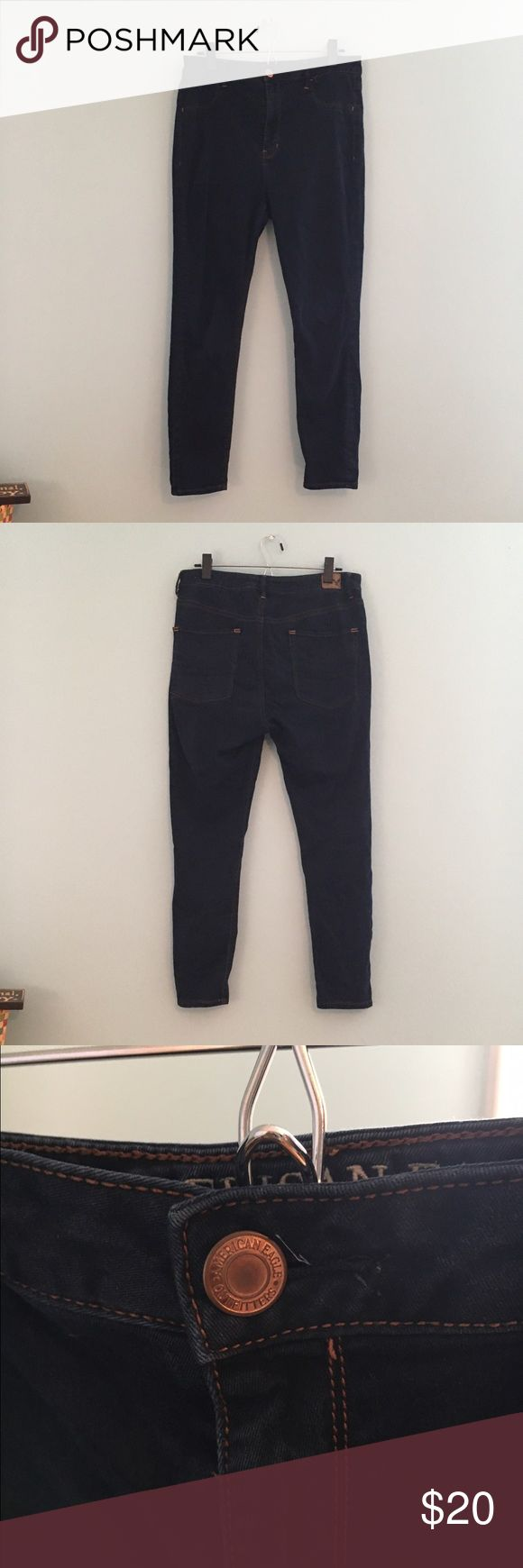 American Eagle Outfitters Sky High Jegging AEO jegging. Super high waisted. Dark wash. Very soft and stretchy. Worn quite a few times but they still have lots of life left in them. Looks great with a crop top and cardigan, or anything really. American Eagle Outfitters Pants Leggings