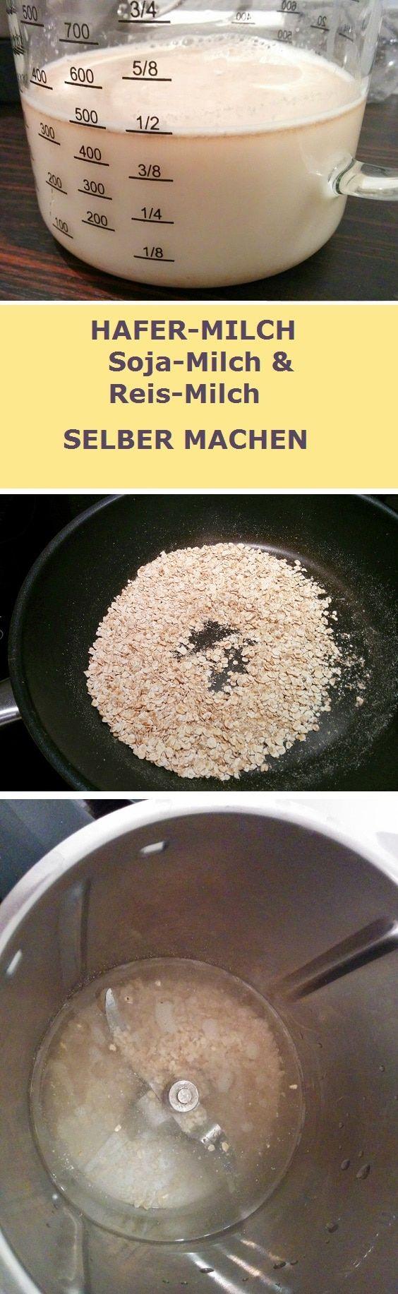1 Liter Hafermilch aus dem Tetrapak kostet über 2 Euro! Hafermilch selber machen kostet weniger als 0,10 € !!! Das Rezept funktioniert auch für Reismilch und Sojamilch. Zum Hafermilch-Rezept