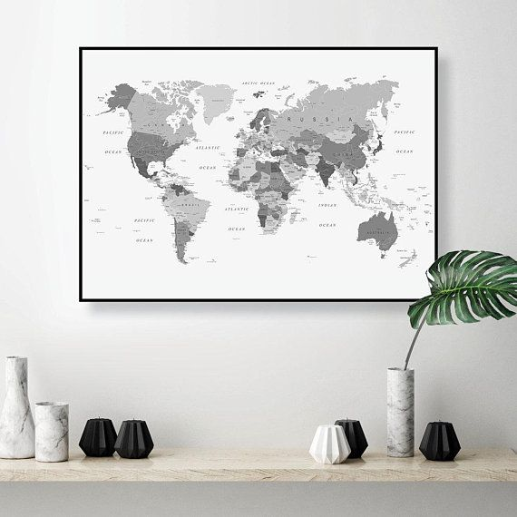 Downloadable Black And White World Map Art Large Printable World Map Wall Art Dorm Decor Poster Digital Download Study Wall Decor Monochrome World Map Wall Art World Map Art Blue Map