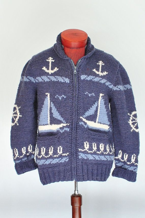 Mary Maxim Sailing Time Cardigan Sweater Mens by CampKitschyKnits, $139.00