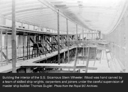 Royal BC Archives – Building the S.S. Sicamous Stern Wheeler at the Okanagan Landing Ship Yards – View of the Dining Saloon