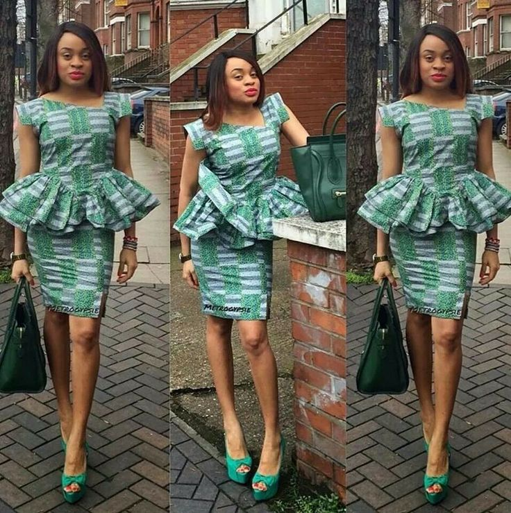 African Style In A Green Short Dress Fashion