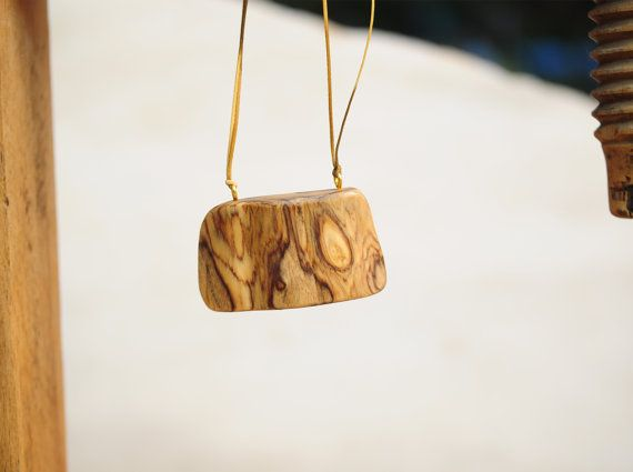 Olive Wood Necklace, Unique Handmade Pendant, Olive Wood Pendant, Elegant Necklace, Gift For Her, One of a Kind, Handmade Olive Wood