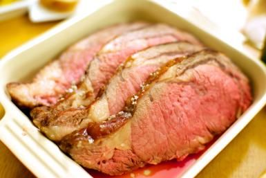 Roasted prime rib - Yes & it tastes as good as it looks!! In addition to the salt and pepper, I poked holes into the fat layer of the roast and inserted roasted garlic cloves. Talk about a party in your mouth!!!