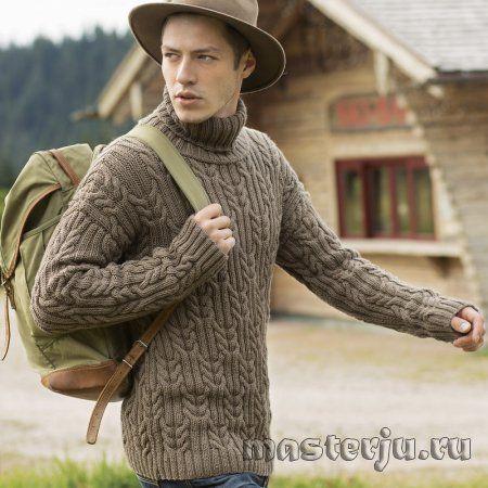 Мужской свитер с косами и воротником гольф