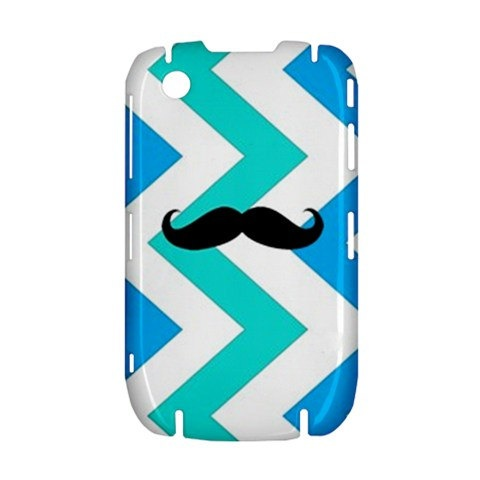 NEW Geeky Mustache on Blue Chevron BlackBerry Curve 8520 9300 Hardshell Case Cover BB Curve 8520 9300 Case - Available for other type of BB
