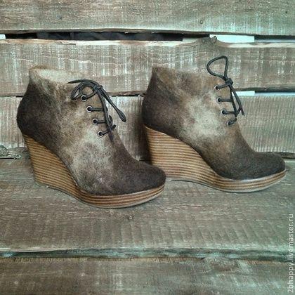 Обувь ручной работы. Ярмарка Мастеров - ручная работа. Купить Валяные ботильоны Bellissima 2. Handmade. Коричневый, женская обувь