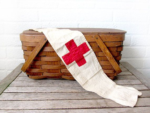 Vintage Red Cross Arm Band Armband - Medic First Aid Bandana - Cub Scouts Eagle Scout Boy Scouts - Camping and Wilderness Accessory - Nurse