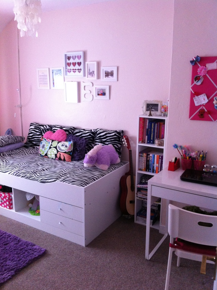Updated girly teen room (pink, purple and zebra print)