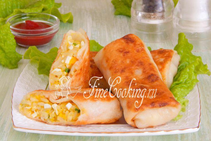 Блинчики с рисом и яйцом - рецепт с фото