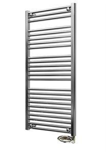 Picture of 500/1150mm Chrome Flat Pre-filled Electric Towel Rail - Thermostatic