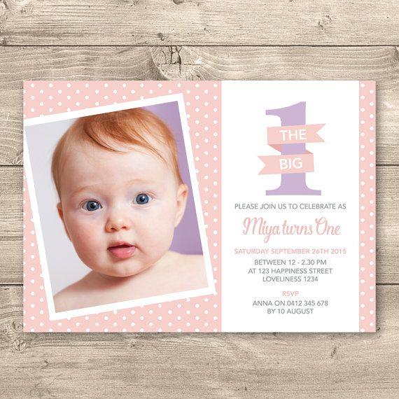 Girls 1st Birthday Invitation Digital File  I by InkandCardDesigns