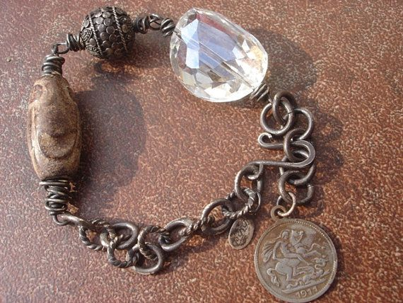 Dragon Slayer - Primitive Tribal Neolithic Jade, Quartz and Rare Coin Bracelet.