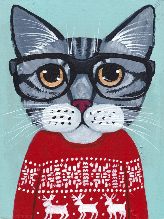 CAT in Ugly Christmas Sweater Original Folk Art Painting