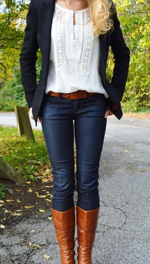 Lace top, blazer, jeans and long boots fashion