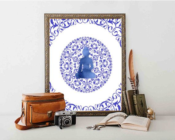 Buddha Print  Blue  Buddha Wall At  Buddha Decor  by DaniJArts