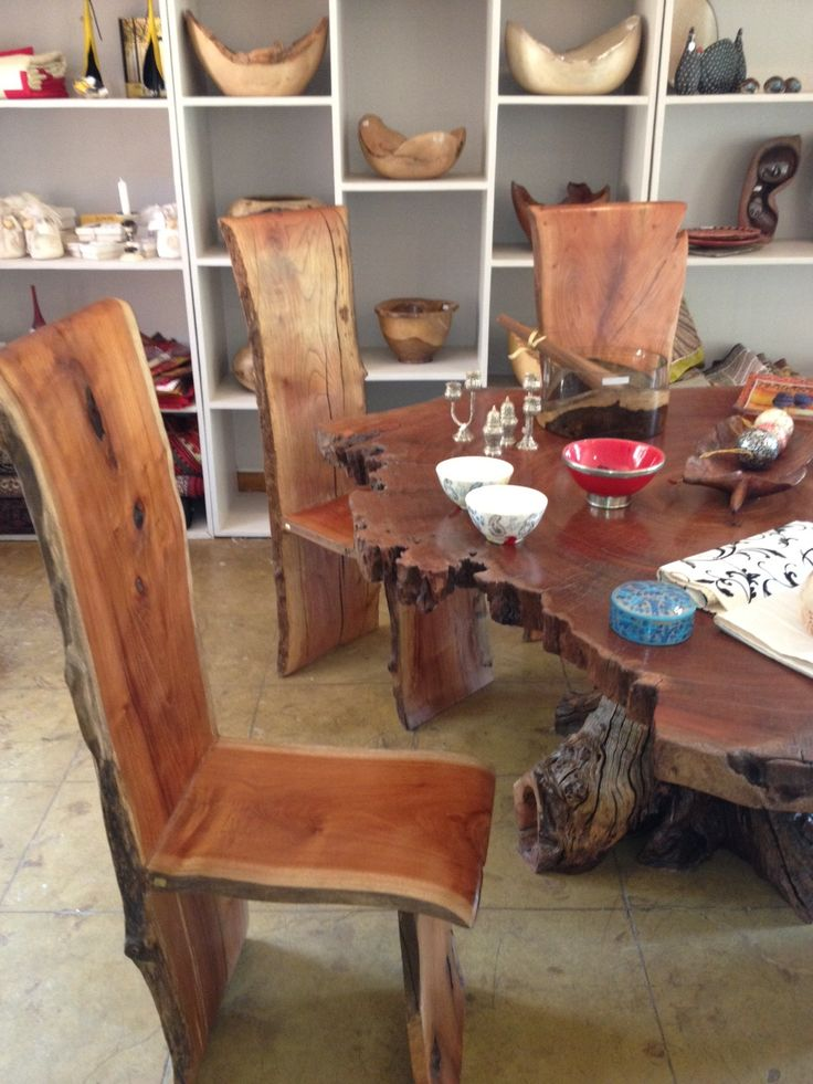 Free Form Wood Furniture Dining Room Ethnic Home
