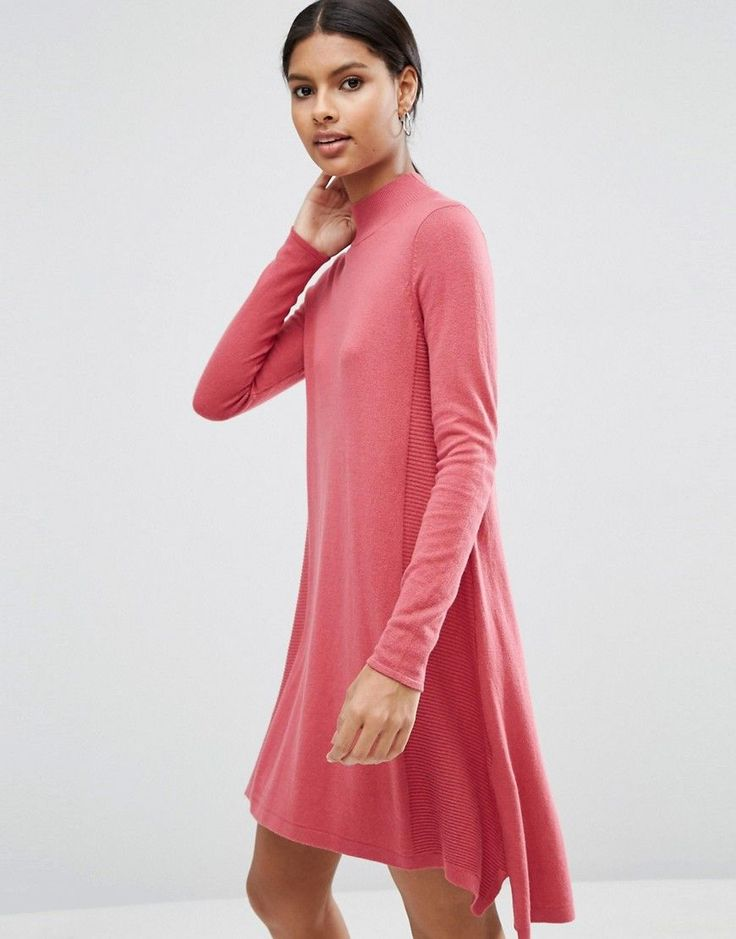 ASOS Knit Tunic Dress in Cashmere Mix - Pink