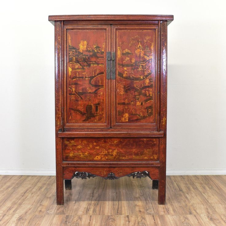 This Asian Inspired Armoire Is Featured In A Solid Wood With Glossy Red Finish And