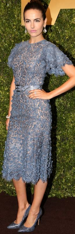 Who made Camilla Bella's blue scallop lace dress that she wore in Shanghai on May 9, 2014?