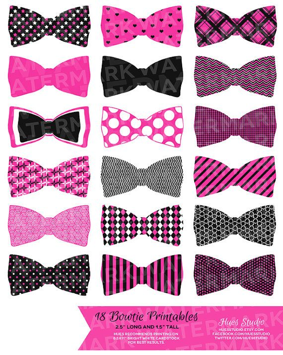 18 HOT PINK Bowties / PRINTABLE Party Decor  by HuesPrintables, $3.50