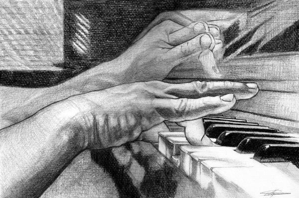 Playing the piano - drawing https://www.facebook.com/StefanMarcuArt