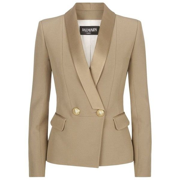Balmain Crepe Tuxedo Jacket (£1,440) ❤ liked on Polyvore featuring outerwear, jackets, blazers, blazer, balmain jacket, tuxedo jacket, double breasted blazer, crepe jacket and dinner jacket
